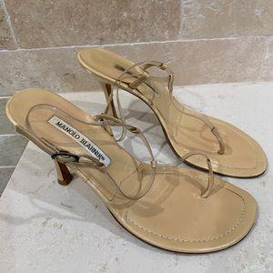 Manolo Blahnik Nude/Clear Thong Sandals Sz 38